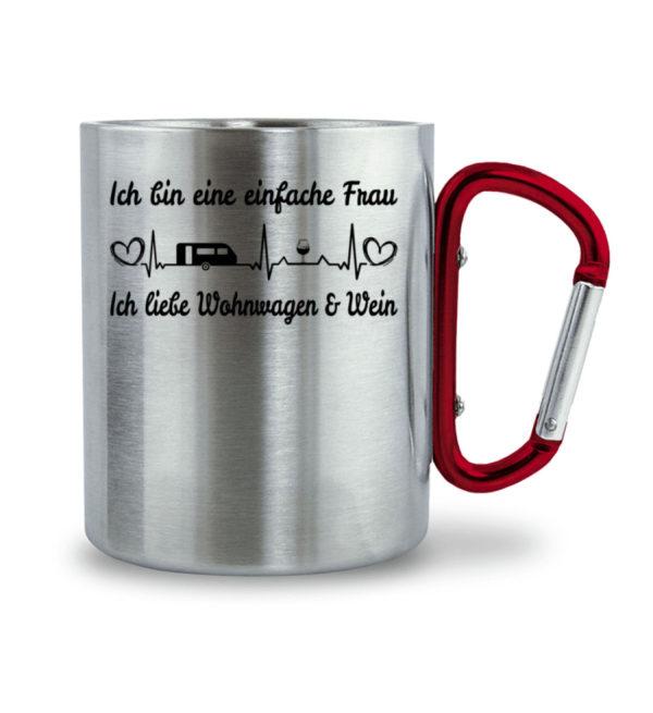 Frau Wohnwagen Wein Liebe - Emailletasse - Edelstahltasse mit Karabinergriff-6989