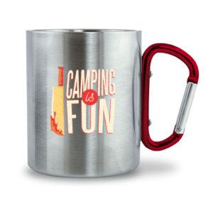 Camping is Fun Tassse - Edelstahltasse mit Karabinergriff-6989