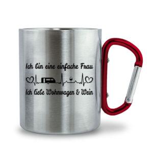 Einfache Frau Ich liebe Wohnwagen & Wein - Edelstahltasse mit Karabinergriff-6989